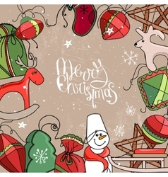 Square festive frame with Christmas decor vector image vector image