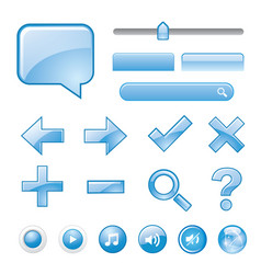 blank blue website button icon symbol vector image