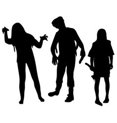 halloween party silhouettes of zombies halloween vector image vector image