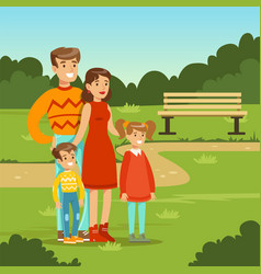 happy young family spending time in city park vector image