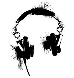 Headphones stencil 2 vector image vector image