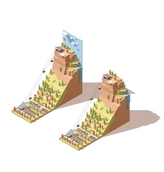 isometric cableway to the hill infographic vector image