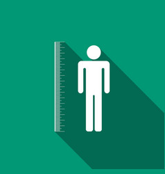 measuring height body icon with long shadow vector image vector image