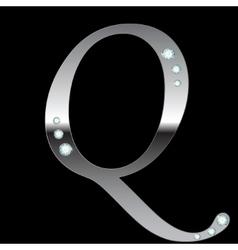 silver metallic letter Q vector image vector image