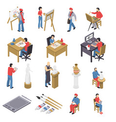 artists and accessories isometric set vector image vector image