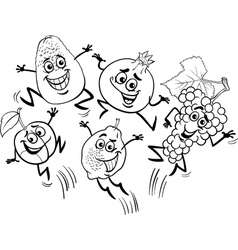jumping fruits cartoon coloring book vector image