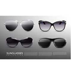 Realistic fashionable sunglasses set vector