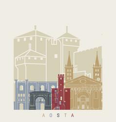 Aosta skyline poster vector