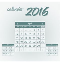 april 2016 vector image