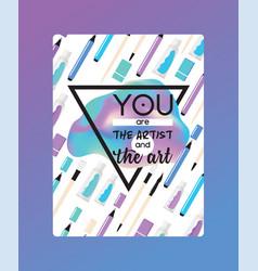 art supplies studying in art-school with vector image
