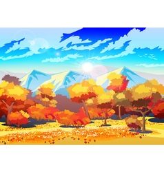 Autumn forest in the sun vector image
