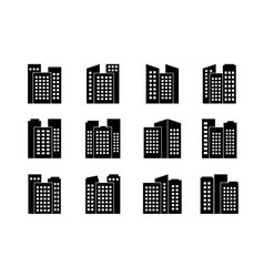 Black company icons and buildings set isolated vector