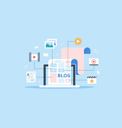 Blog page fill out with content articles and vector