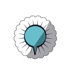 Blue sticker circular shape dialog box with lines vector