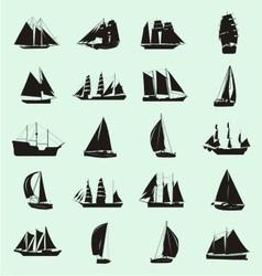 Boat silhouette set vector
