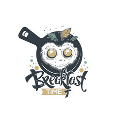 breakfast time hand drawn sketch with lettering vector image