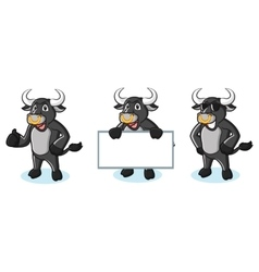 Bull Black Mascot happy vector