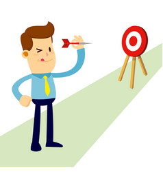 Businessman aiming for the target with darts vector