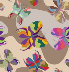 Butterflies of different colors in a flat style vector image