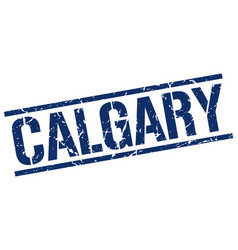 Calgary blue square stamp vector