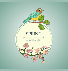 Card with tit on a branch and cherry flowers vector