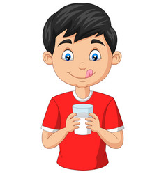 cartoon little boy holding a glass milk vector image