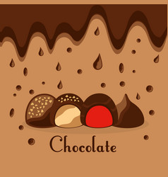 chocolate candies drops melted dessert card vector image