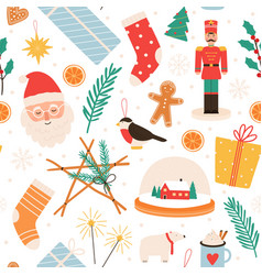 christmas seamless pattern merry winter holidays vector image