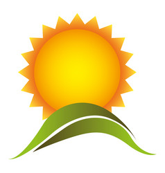 color beautiful sun with mountain icon vector image