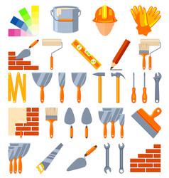 colorful cartoon 30 construction elements set vector image