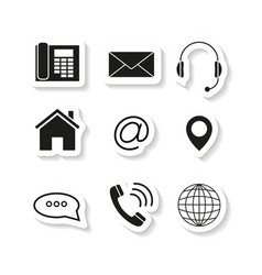 contacts set sticker icons vector image