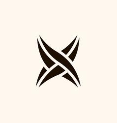 creative professional trendy monogram x leaf logo vector image
