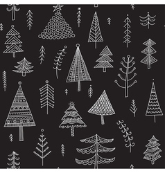 Decorated christmas trees seamless pattern black vector