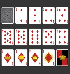 Diamond suit playing cards full set vector