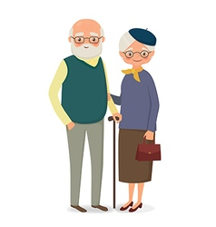 Elderly couple holding hands vector