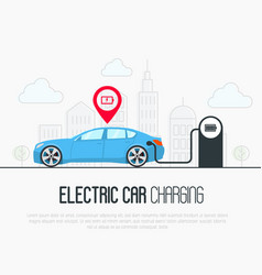 Electric blue car with low battery vector