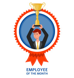Employee month mark with businessman flat vector