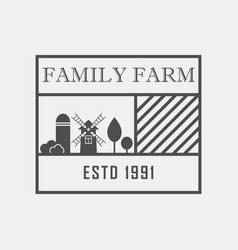 family farm concept logo template with farm vector image