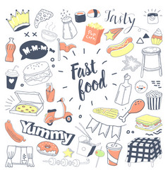 Fast food hand drawn doodle with burger vector