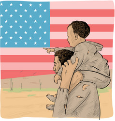 Father and son immigrant in front usa flag vector