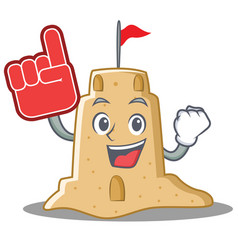 Foam finger sandcastle character cartoon style vector