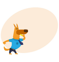 funny shepherd dog character in blue police vector image