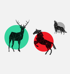 Geometric icons with deer horse wolf vector