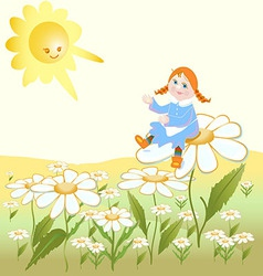 Girl sitting on the flower and rejoicing in the vector