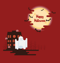 halloween ghosts flying under the moon vector image