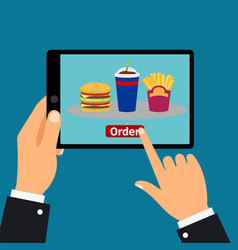 Hand holding tablet order fast food vector
