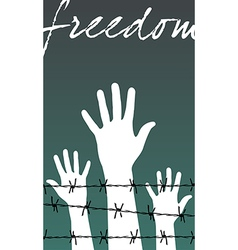 hands behind a barbed wire prison with the word vector image