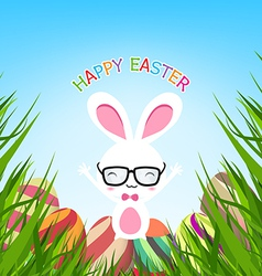 Happy easter egg with bunny vector