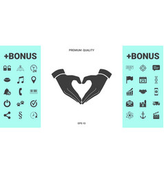 heart shape made with hands vector image
