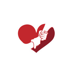 helping hand with heart shape logo vector image